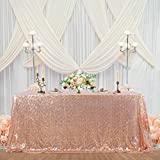 Mantel de lentejuelas de oro rosa brillante, decoración para fiestas, mantel rectangular para cocina, cena, cumpleaños, boda, baby shower, 152 x 250 cm