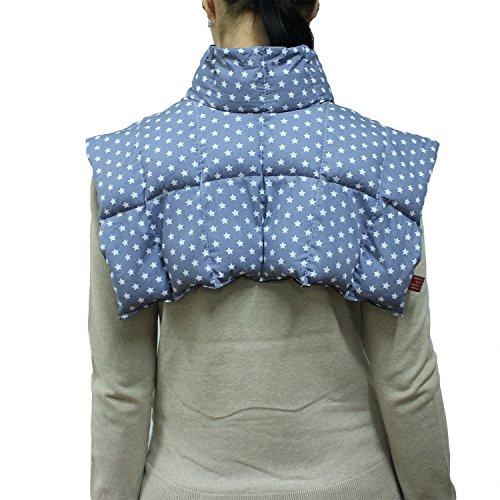 Wärmekissen mit Kragen für Nacken und Schultern - Körnerkissen zum Erwärmen - Natürliches Getreidekissen mit Multi-Kammersystem (stern grau)