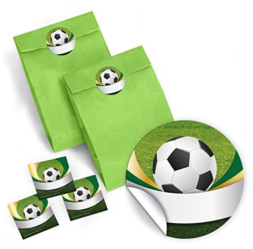 JuNa-Experten 12 farbige Party-Tüten mit 12 Aufkleber für Geschenke oder Mitgebseln beim Kindergeburtstag oder Fußballturnier Fußball / Kinderfest / Papier-Tüten für Geschenkverpackung