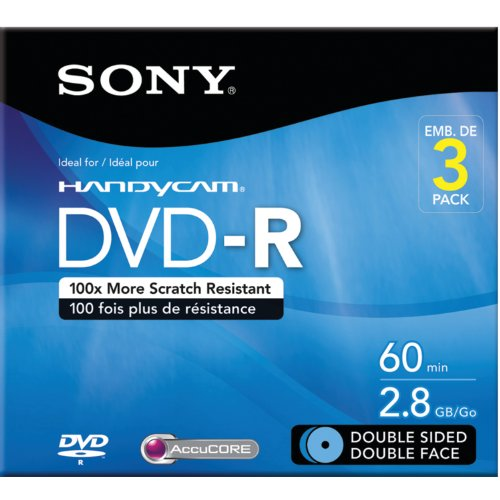 Sony 3DMR60DSR1HC 3Pack 8cm DVDR Double Sided with Hangtab