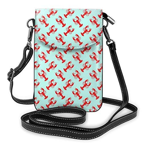 Kleine Umhängetasche für Damen und Mädchen, mit Kartenfächern, Mini-Umhängetasche, Geldbörse, für Reisen, Arbeit, Outdoor, rotes Hummer-Muster, Mintgrün
