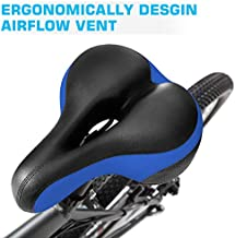 Zutesu Comfort Bike Seat, Most Comfortable Bicycle Seat Memory Foam Bike Saddle Cushion for Women Men -Shock Absorbing-Waterproof Replacement Bicycle Saddle with Reflective Band