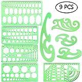 9 Stück Kunststoff-Zeichnungen, Vorlagen, Messvorlagen, geometrische Lineale für Studium und Kunst Gestaltung von Baubedarf