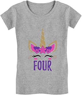 Gift for 4 Year Old Girl Unicorn 4th Birthday Infant Girls' Fitted T-Shirt