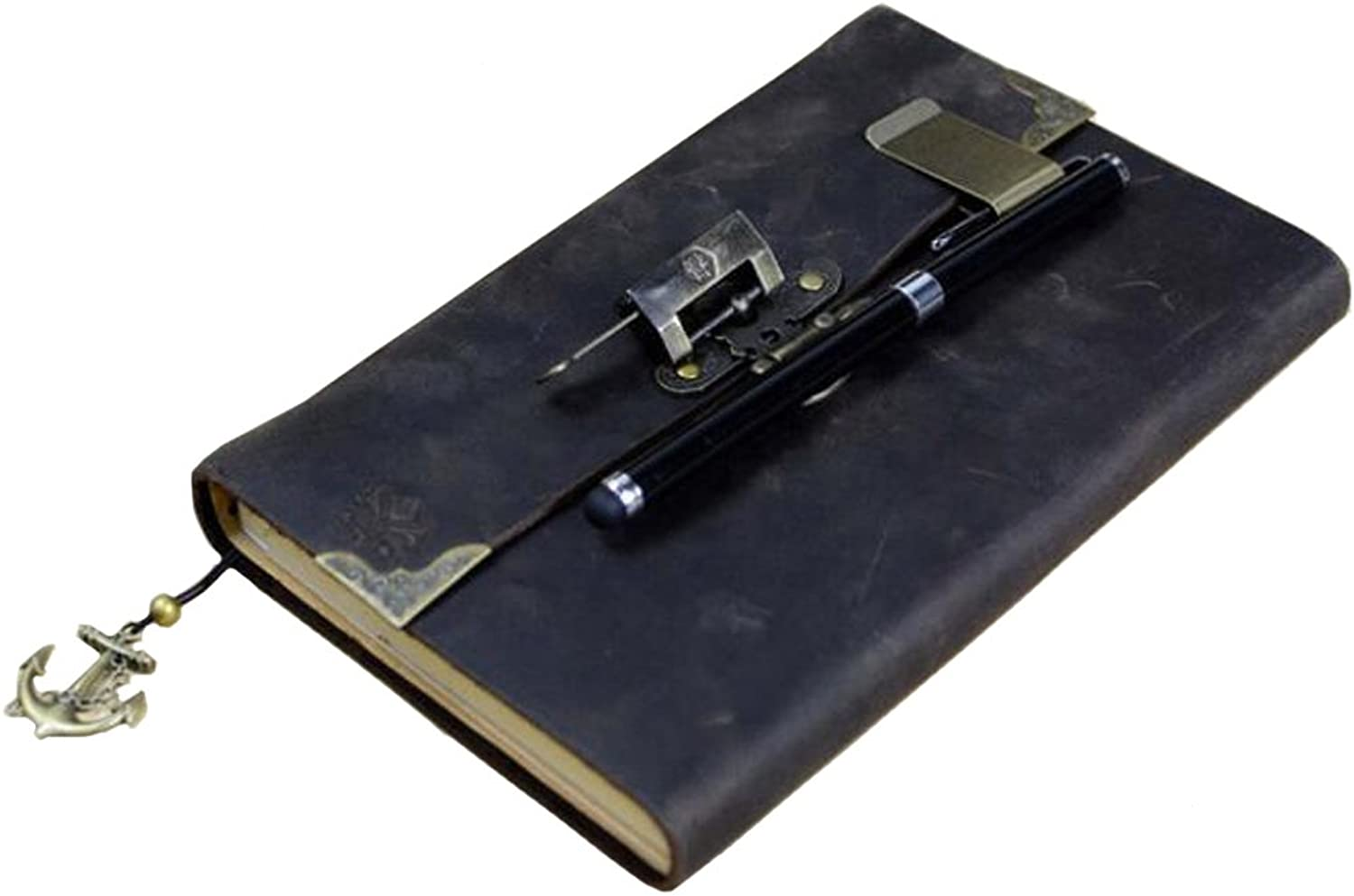 NOQ Leather Notebook Genuine Leather Retro Style With Retro Copper Lock Blank Kraft Paper Gift