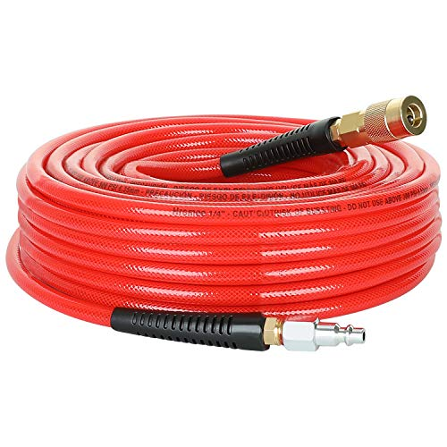 Hromee 1/4-Inch x 50 Feet Polyurethane Air Hose with Bend Restrictors PU Compressor Hose with 1/4' Industrial Quick Coupler and Plug Kit, Red