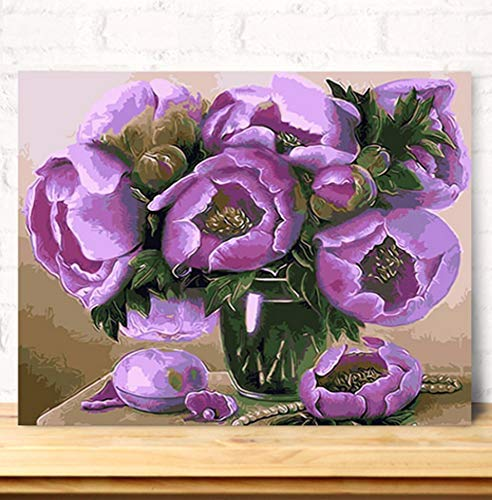 zlxzlx (geen lijst) pioenrozen in een glazen vaas DIY olieverfschilderij door cijfers bloemen digitaal canvas schilderij wandschilderij grootte 40X50