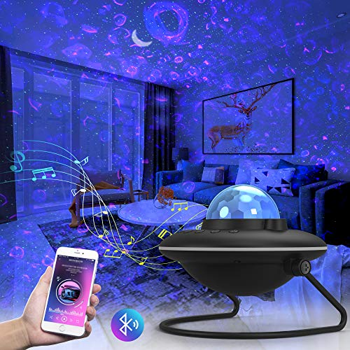 Night Light Projector, 3 in 1 Ocean Wave Nebula Starry Projector with Bluetooth Speaker, 120°Rotatable 2000mAh Battery LED Ambience Light for Kids Adults Bedroom Home Party