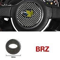 車のインテリア装飾カーボンファイバーステアリングホイールトリムカーステッカーカバースタイリング、スバルBRZ 2013-2020アクセサリー (Carbon Black)