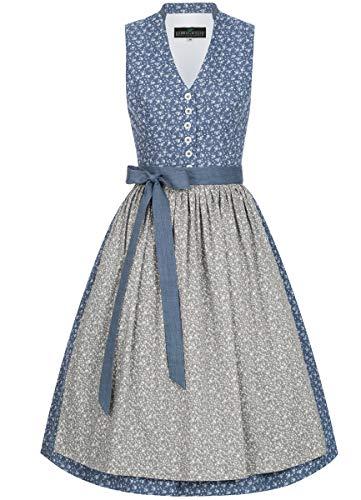 Berwin und Wolff Damen Trachten-Mode Midi Dirndl Therese in Blau traditionell, Größe:42, Farbe:Blau