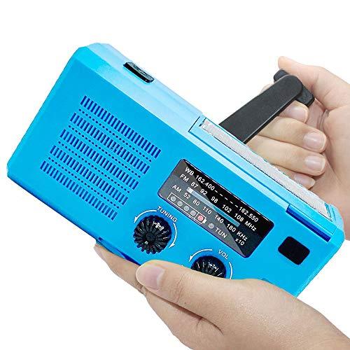 Docooler Rádio portátil multifuncional, rádio meteorológico, carregamento solar, manivela de emergência, transmissão de emergência, alarme SOS, uso de lanterna de emergência e luz de leitura COB