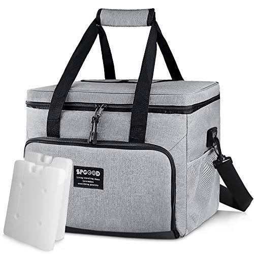 SPGOOD 20L Kühltasche Thermotasche Picknicktasche Lunchtasche Isolierte Tasche Cooler Bag Mittagessen Klein Kühlbox mit Kühlakkus für Lebensmitteltransport Erwachsene Kinder Arbeit Picknick