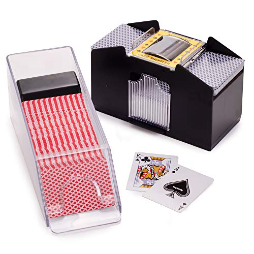 Shuffle & Store: Blackjack - Deluxe Blackjack Game Set - Includes 6-Deck Automatic Card Shuffler & 6-Deck Dealer Shoe + Discard Tray - Great for Family, Casino Game Nights, Poker & Card Games