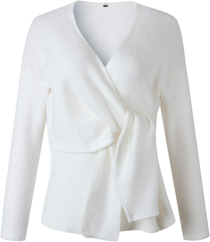 WOZNLOYE Damen Langarm V-Ausschnitt Schnürung Pullover Einfabige Jumper Pulli Herbst Winter Oberteile Tops Weiß