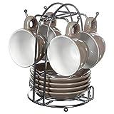 SECRET DE GOURMET Set aus 4 Tassen Unterteller mit Ständer, Farbe:Taupe