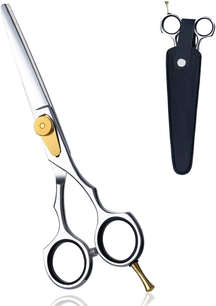 """Professional 6"""" Hair Scissors , Ergonomic Barber Hair Cutting Shears-Japanese 440C Stainless Steel- with Case for Women and Men"""