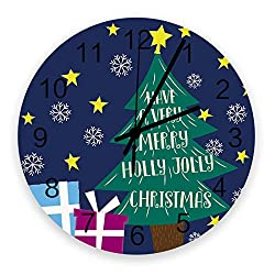Roses Garden 12-Inch Indoor Silent Non-Ticking Wall Clock Blessing Xmas Winter Holiday Full of Jolly Navy Blue Battery Operated Home Decor Wall Clock for Living Room/Kitchen/Office