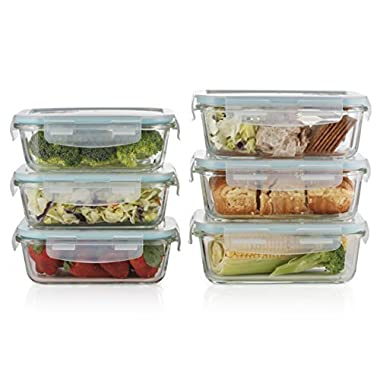 Prestee 12-pc Glass Food Storage Containers / Set Of 6 Rectangle Clear Glass Containers / Airtight With SnapLatch Lids BPA Free – Oven Dishwasher Freezer And Microwave Safe