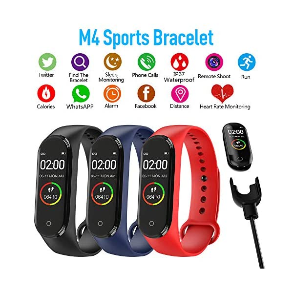 bqlove M4 Fitness Tracker, Reloj De Seguimiento De Actividad con Monitor De Ritmo CardíAco, Banda De Fitness Inteligente… 2