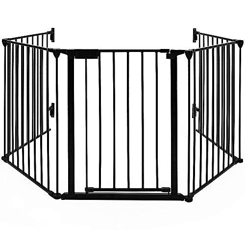 Kaminschutzgitter Rondo | Automatik-Tür | 90° Feststell-Funktion | Einhandbedienung | (5-tlg) 300x75.5x2.5cm (Schwarz, 300x75.5x2.5cm)