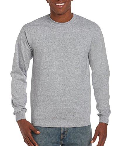 Gildan Men's G2400 Ultra Cotton Jersey Long Sleeve Tee, Sport Grey, Medium