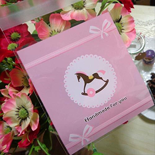 100 piezas bolsa de caramelo rosa hecha a mano para ti fiesta lindo caballo autoadhesivo boda bolsa de celofán galletas galletas galletas regalo bolsas