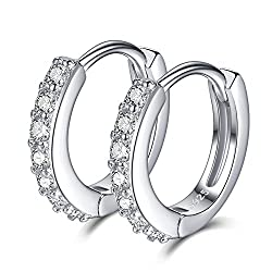 Stamped 925 for authenticity and quality assurance checked. Silver Earrings; Nickel Free and Hypoallergenic. Diameter:12MM. 2mm width. Weight:1.5g Cubic zirconia (also known as CZ) is a synthetic gemstone that is similar to a diamond with its brillia...