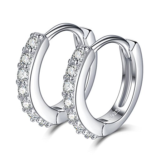 SELOVO 925 Sterling Silver 12mm Small Hinged Hoop Earrings Sleeper Cubic Zirconia