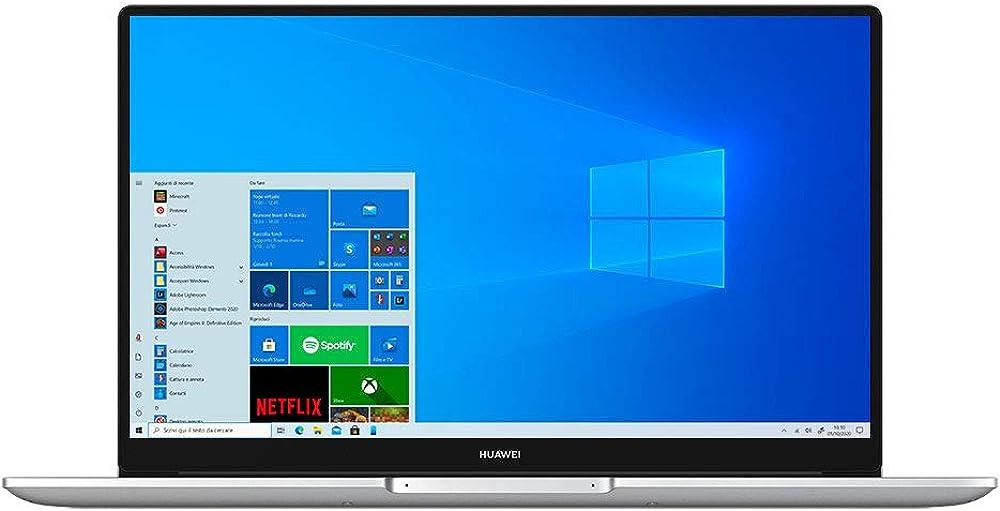 huawei matebook d 15 laptop display fullview da 1080p con modalità eye comfort  intel core di 11 bohrd-wfh9c