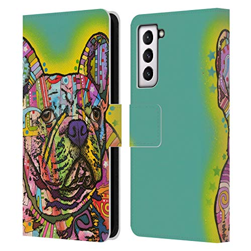 Head Case Designs Officially Licensed Dean Russo French Bulldog Dogs Leather Book Wallet Case Cover Compatible with Samsung Galaxy S21 5G