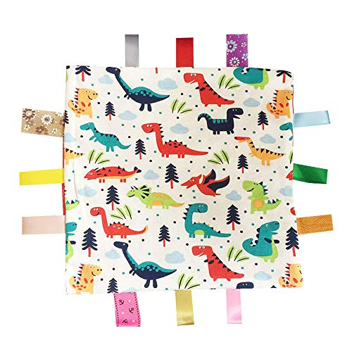 G-Tree Baby Comfort Blanket with Tag, Taggy Blanket - Multi-Coloured Dinosaurs Tag, Taggy Blanket - Red Textured Underside