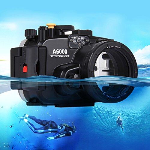 JHM-ES Carcasa de cámara Vivienda subacuática de la cámara de la Prenda Impermeable de la Caja del Salto de los 40m para Sony A6000 Estuche de Buceo bajo el Agua