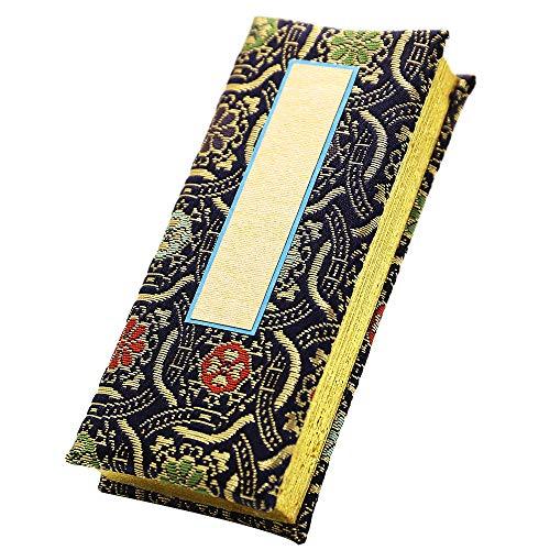 京仏壇はやし 過去帳 錦金襴( 紺 ) 3.5寸 日付入り ◆縦 約10.5cm 横 約5cm 厚み 約2.5cm
