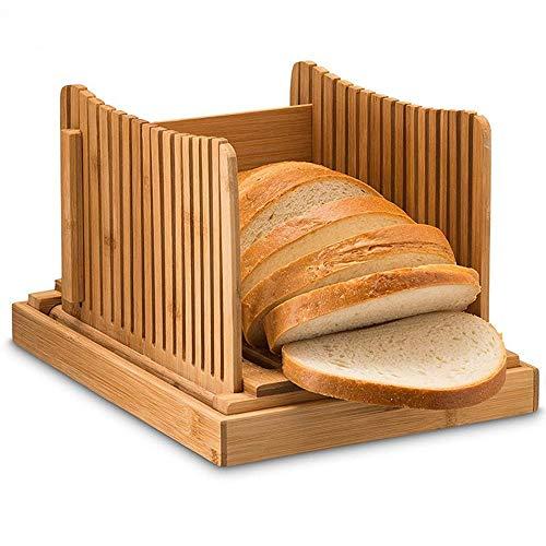 AEUWIER Cortadora de pan de bambú, tabla para cortar pan/guía para rebanar con bandeja recolectora de migas/cortador ajustable de 3 espesores para pan, pasteles, panes, vegetales
