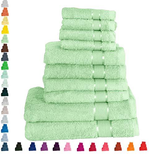 Mixibaby Handtuch 10er Set 2X Duschtuch 4X Handtuch 4X Gästetuch 100% Baumwolle Frottee, Farbe:Natur