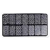 Vkospy Metal Grabado Profundo de uñas Sello Placa 3D del rectángulo de la geometría del Clavo del patrón Placas del Polaco del Arte Estampación
