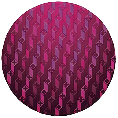 Runder Mauspad, Magenta-Dekor, abstrakte Streifen-psychedelische Motiv-Mode-Farbverlauf-Retro-strukturierte Gitterkunst, Taffy Rouge