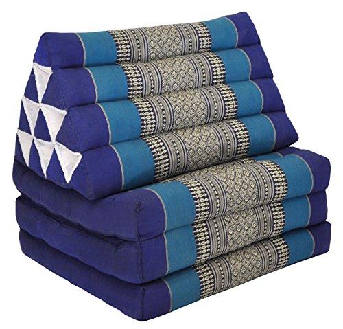 Wifash Colchón Thai 3 Pliegues, con cojín triángulo, Ocio, colchón, Kapok, Playa, Piscina, Fabricado en thailande, Azul (82203)