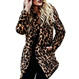 Beikoard Mujeres Cálidas Invierno Sudadera De Mujer De Leopardo De Impresión Jersey Suéter De La Capa,Chaqueta De Piel De Imitación De Leopardo
