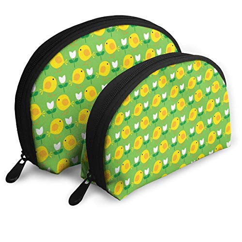 Printeaster Chick Portable Bags Clutch Pouch Coin Purse Cosmetic Travel Storage Bag 2Pcs Stationery