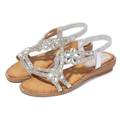 haoricu Summer Bohemia Crystal Flat Sandals Women Bling Flower Beach Casual Flip Flops Summer Shoes (US:8.5, Silver)
