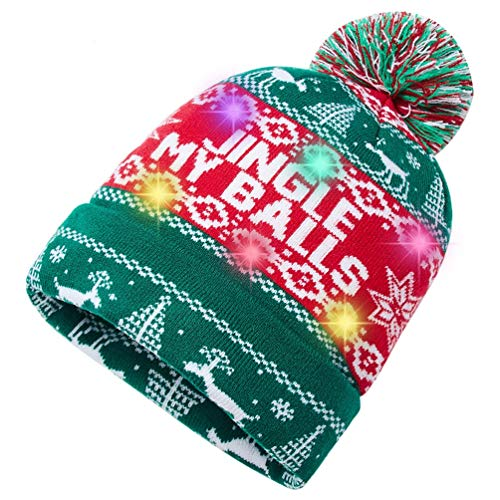 Unisex Christmas Led Light Up Beanie Hat Cap 3D Reindeer Hat Jingle My Balls Hat Ugly Xmas Knit Hat Winter Women Men Novelty Hat Pompom Skull Cap Beanie Hats for Holiday Party