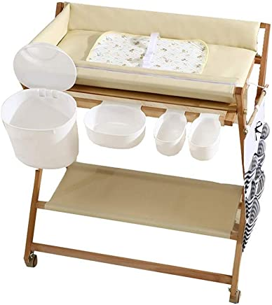 Changing tables Diaper chaging tables Folding with Storage  Wooden Adjustable Massaging  amp  Bath Station Dresser for 0-24 Months baby  Beige