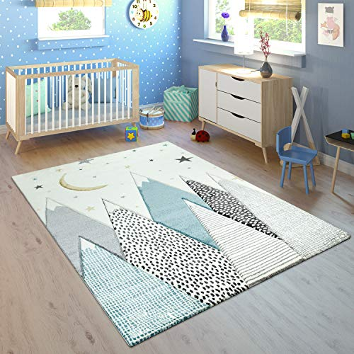 Tapis Enfant Chambre Enfant Motif Montagne Lune Étoiles en Pastel Bleu Gris, Dimension:80x150 cm
