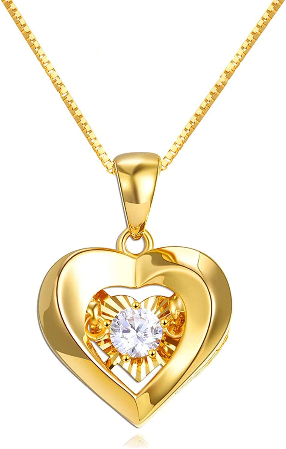 18k Yellow Gold Heart Necklaces for Women, Real Gold Box Chain Love Pendant, Anniversary Jewelry for Wife, Birthday Present for Mother, Gifts for Her, 18 Inch