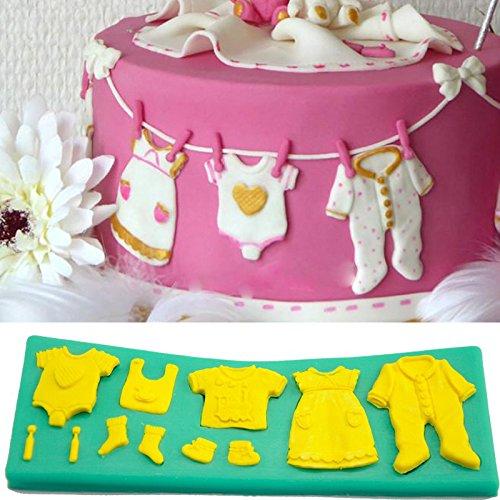 Moule à gâteau 3D en silicone en forme de vêtements de bébé - Couleur aléatoire