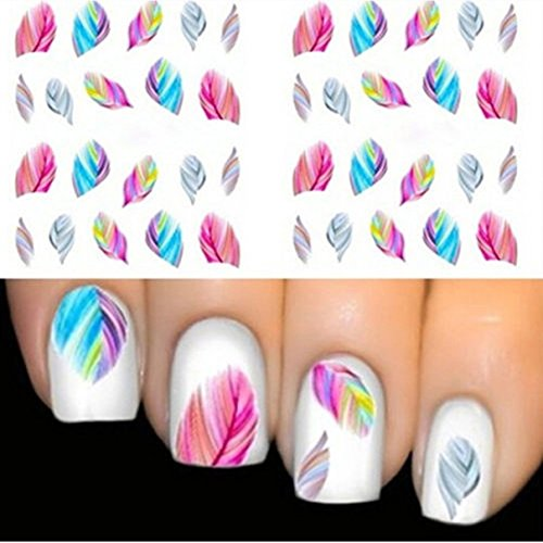 1 Set Colorful Feather Nails Art Sticker Water Transfer Nails Wrap Paint Tattoos Stamp Plates Templates Tools Tips Kits Dainty Popular Xmas Christmas Winter Snow Holidays Stick Tool Vinyls Decals Kit