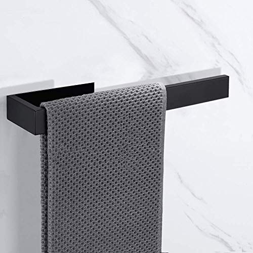 Leyue Sus 304 35 cm Baño de Acero Inoxidable Barra de Toalla de Toalla autoadhesiva con Acabado Negro Toalla de riel, fácil instalación y Tornillo (21 cm) (Size : 35CM)