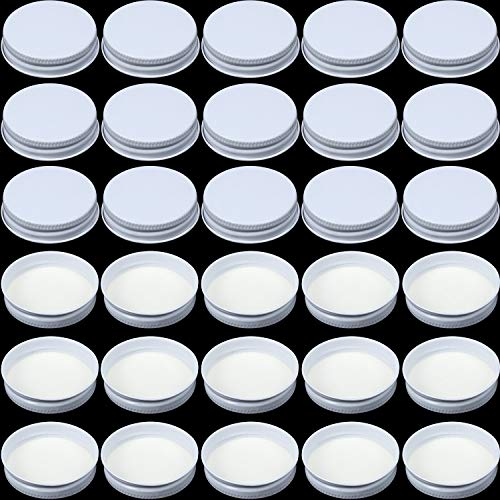 36 Pieces 38 mm White Tinplate Metal Screw Caps, Seal Screw Caps Lid Growler Caps with White Filling Glue Fits for Most 1/2 and 1 Gallon Jugs