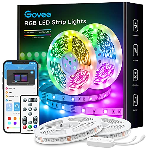 Govee Smart LED Strip Lights, 32.8ft Wi-Fi LED Light Strip with App and Remote Control, Works with Alexa and Google Assistant, Music Sync RGB Lights for Bedroom, Kitchen, TV, Party